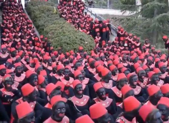 Hundreds of Spanish teenagers in Spain wear blackface for Three Kings parade