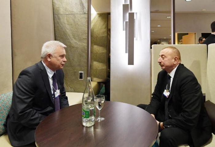 President Ilham Aliyev meets LUKOIL president in Davos