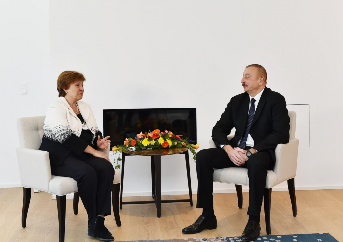 President Aliyev meets CEO for World Bank in Davos -   URGENT