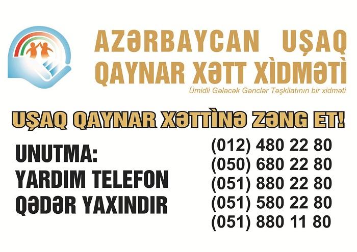 """""""Uşaq Qaynar Xətt"""" xidmətinə 3581 müraciət daxil olub"""