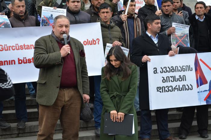 Azərbaycanlıların Tbilisidəki etirazından FOTOLAR