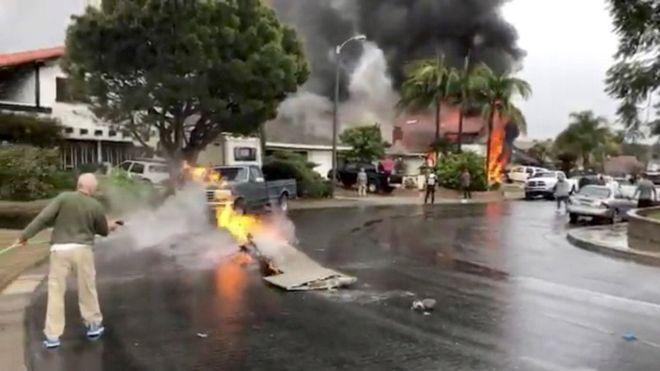 Plane crashes into California house killing five