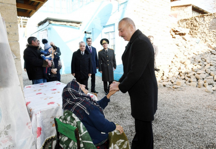 President Ilham Aliyev visits quake-hit Shamakhi