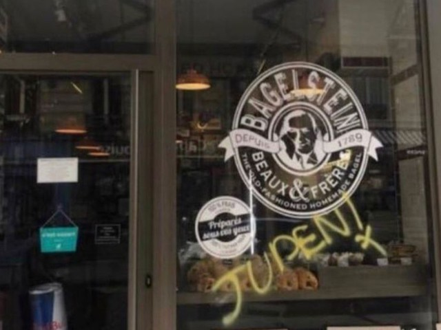 Antisemitic graffiti found on bagel shop in Paris