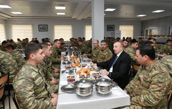 Commander-in-Chief Ilham Aliyev views conditions created at newly-built military unit in Beylagan
