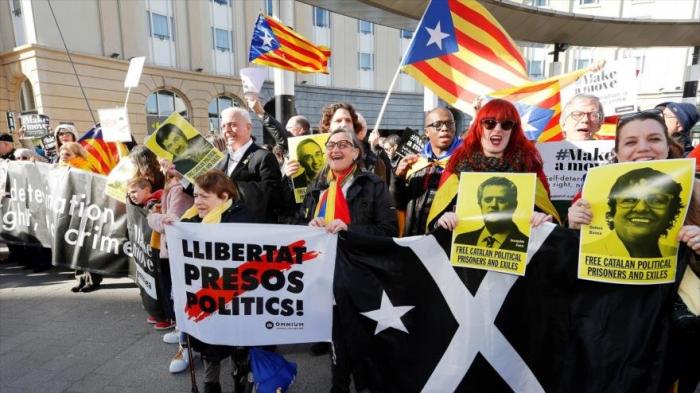 Protestan en Bruselas contra juicio a líderes independentistas