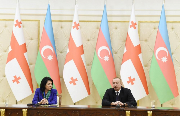 Azerbaijani, Georgian presidents make press statements-  UPDATING