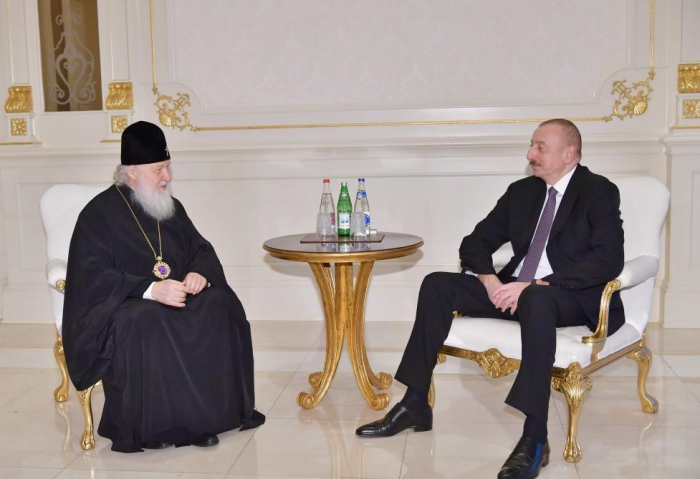 President Ilham Aliyev meets Patriarch Kirill of Moscow and All Russia