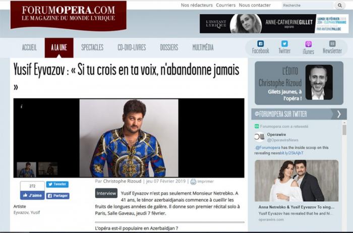En el portal francés colocaron la entrevista del tenor azerbaiyano Yusif Eyvazov