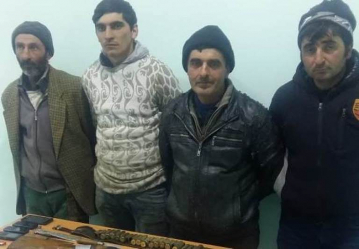 DSX qanunsuz ov edən 4 nəfəri saxlayıb - FOTOLAR