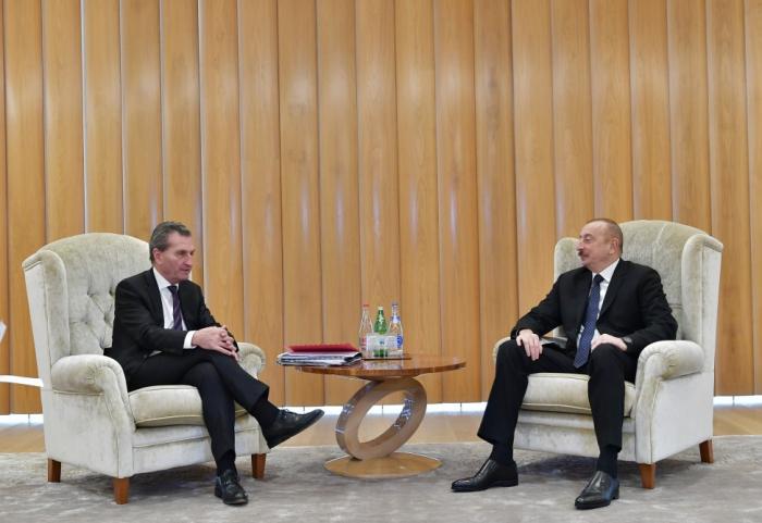 President Ilham Aliyev meets EU Commissioner Oettinger