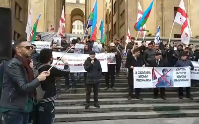 Azerbaijanis hold rally in front of Georgian parliament