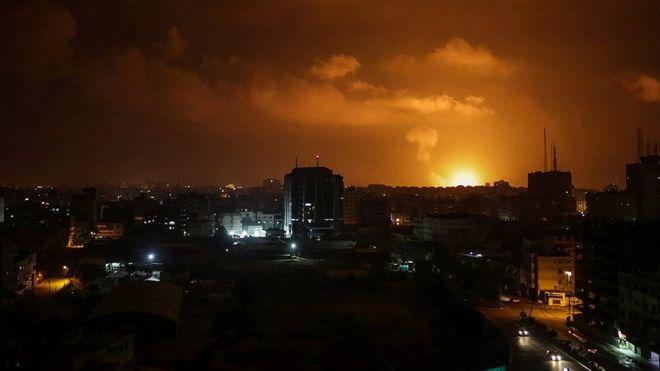 Israel strikes militant sites in Gaza after rockets fired at Tel Aviv