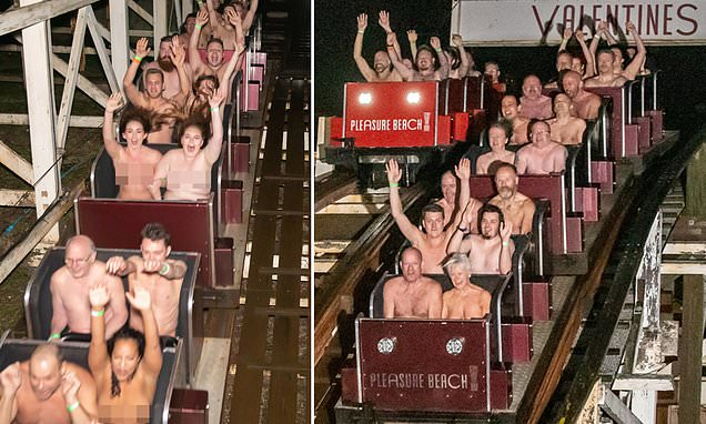 British naturists set world record for  naked rollercoaster riding