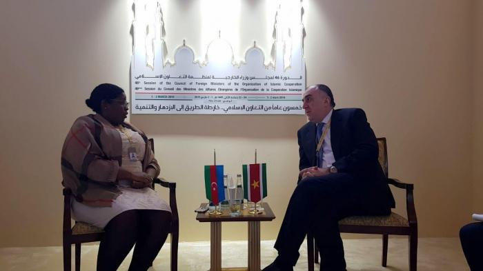 FM Elmar Mammadyarov meets with Suriname colleague