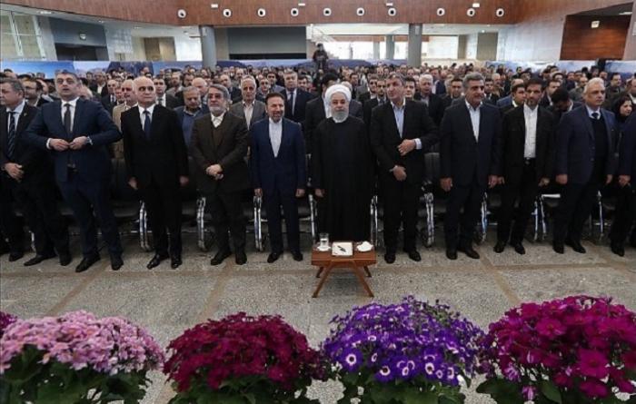 Azərbaycan məmurları Ruhani ilə birgə açılış mərasimində - FOTOLAR