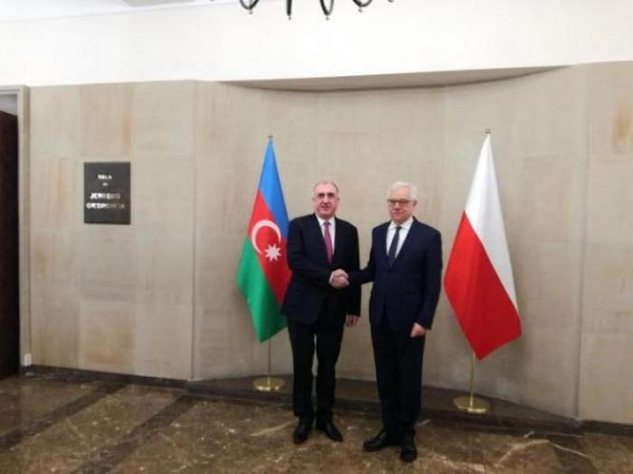 Azerbaijani FM meets Polish counterpart