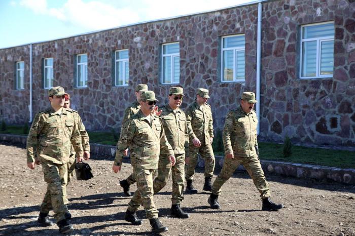 Azerbaijani defense minister visits under-construction military facilities on frontline -   PHOTOS