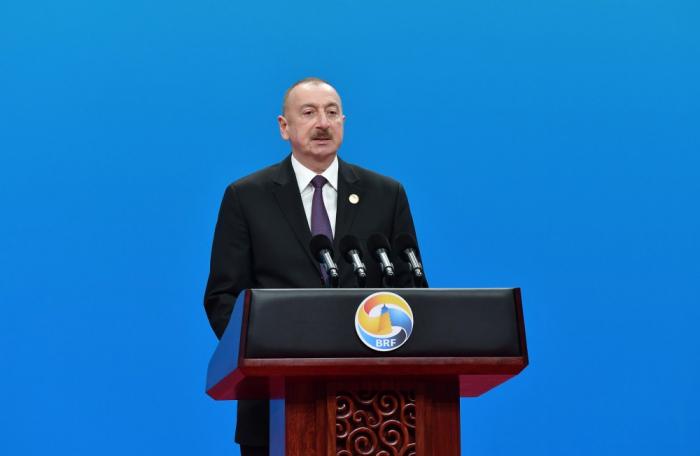 President Aliyev speaks at 2nd BRF on Nagorno-Karabakh
