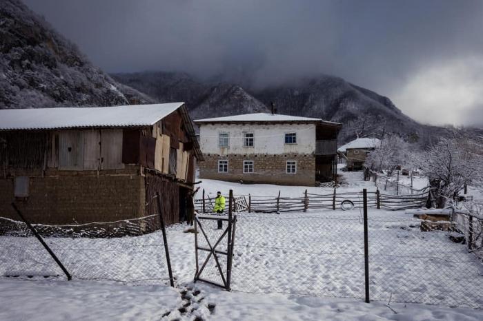 Yazda Azərbaycana yağan qar - FOTOLAR
