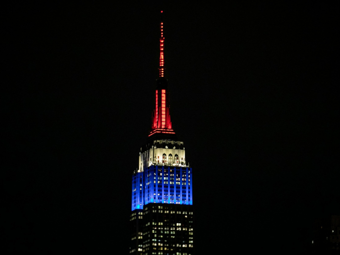 World landmarks display colours of French flag in solidarity after Paris fire