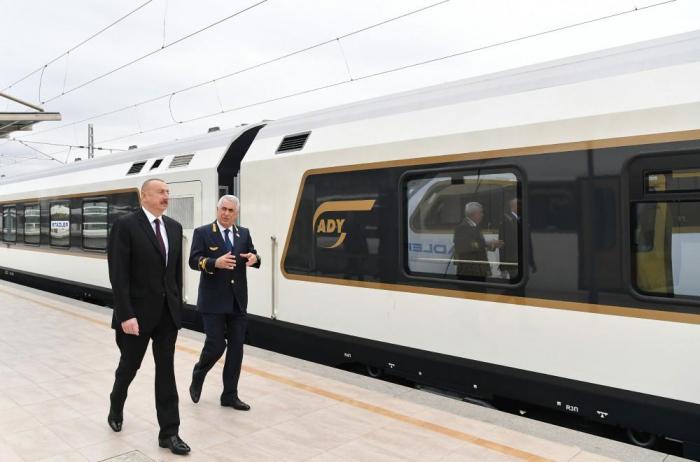President Ilham Aliyev views passenger train to run on Baku-Tbilisi- Kars route - UPDATED, PHOTOS