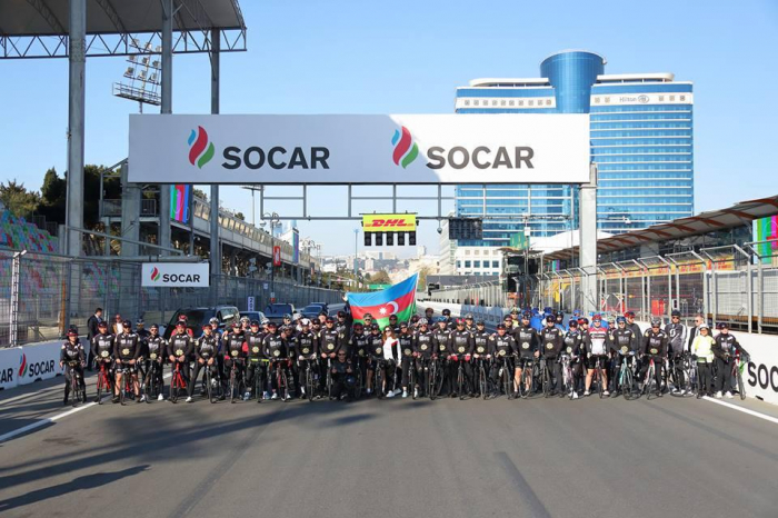 Cycling event held at Baku City Circuit before F1 SOCAR Azerbaijan Grand Prix 2019