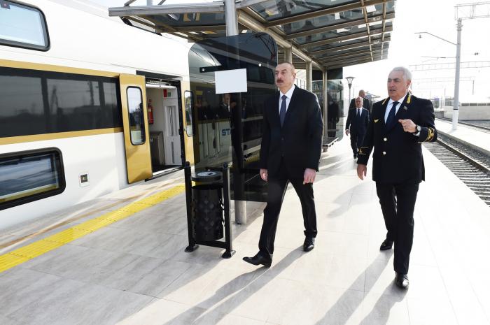 Ilham Aliyev a participé à l'ouverture de la gare de Sabountchou