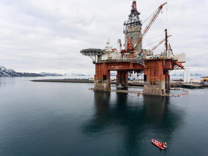 Activists climb aboard rig to protest against new oil and gas drilling-  NO COMMENT