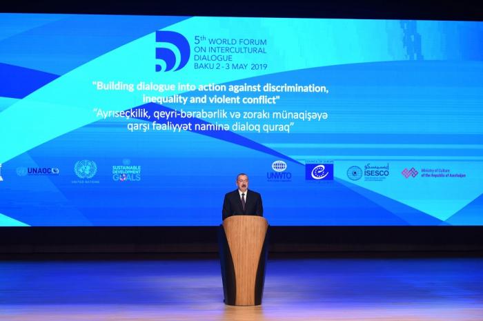 Ilham Aliyev participe à la cérémonie d'ouverture du 5e Forum mondial sur le dialogue interculturel