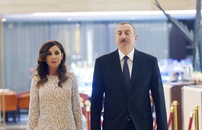 Präsident Aliyev, First Lady Mehriban Aliyeva trafen in Gobustan zu Besuch ein