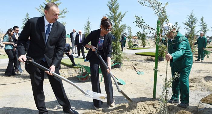 Präsident Ilham Aliyev nimmt an der Baumpflanzkampagne teil