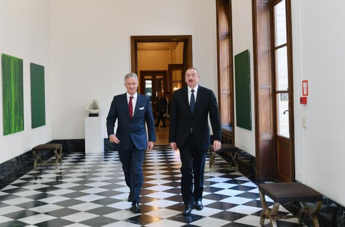 Prezident Belçikaya getdi, Kral Filip ilə görüşdü - FOTO