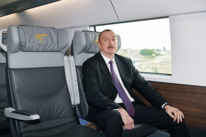 Prezident Sabunçu dəmir yolu vağzalının açılışında - Yenilənib (FOTOLAR)