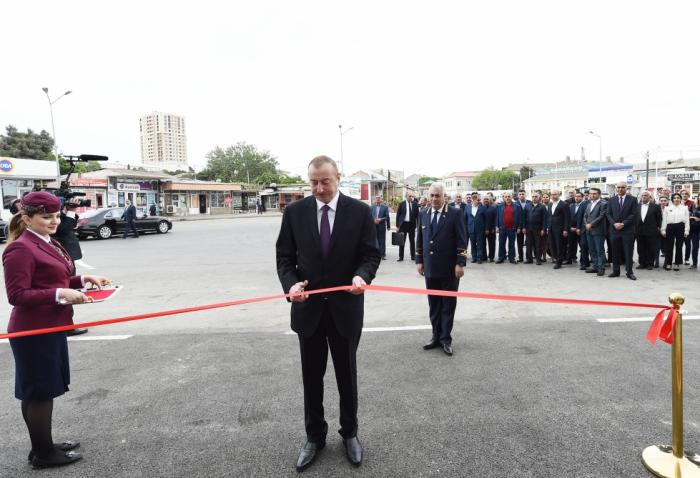 Präsident Ilham Aliyev weiht den Bahnhofskomplex Sabuntschu ein -  FOTOS