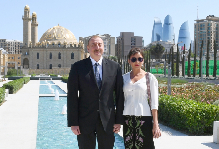President Ilham Aliyev attends opening of garden and Central Park in Baku - PHOTOS