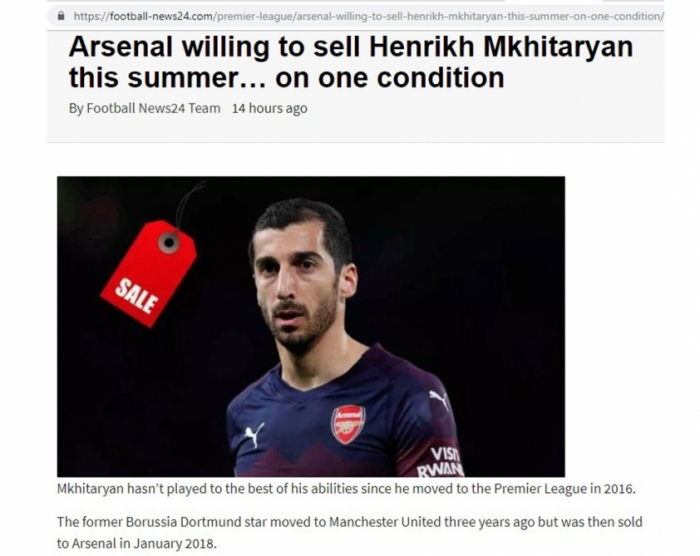 Football News24: Arsenal willing to sell Henrikh Mkhitaryan this summer… on one condition