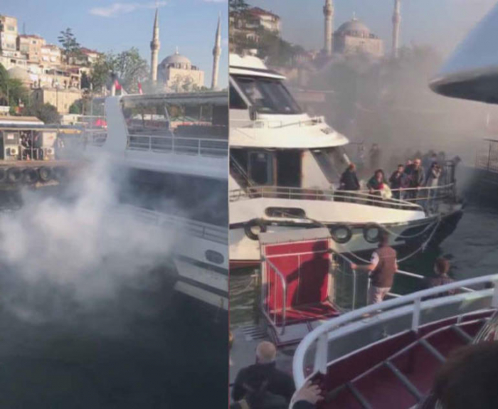 İstanbulda sərnişin gəmisində yanğın olub
