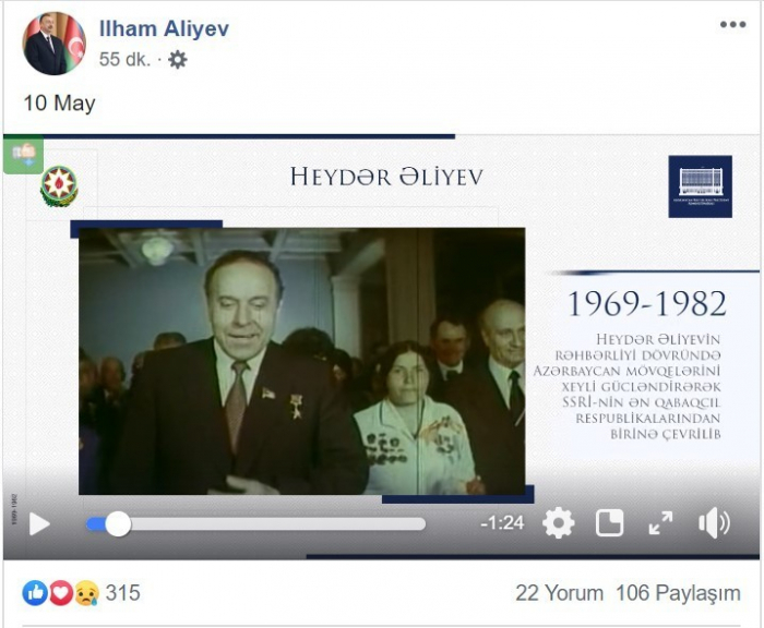 """Prezident """"Facebook""""da Heydər Əliyevlə bağlı video paylaşdı"""