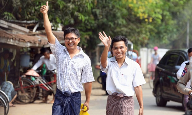 Myanmar frees Reuters journalists jailed for reporting on Rohingya crisis