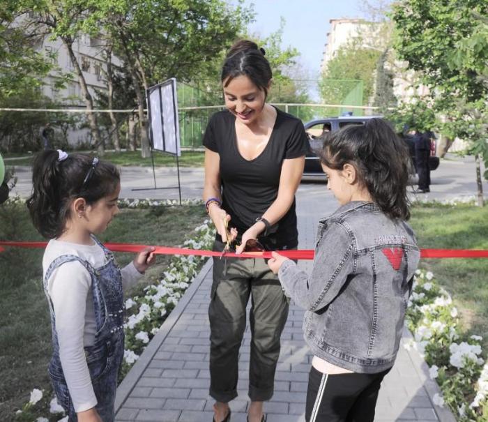 """Leyla Əliyeva """"Bizim həyət""""in növbəti açılışında - FOTOLAR"""