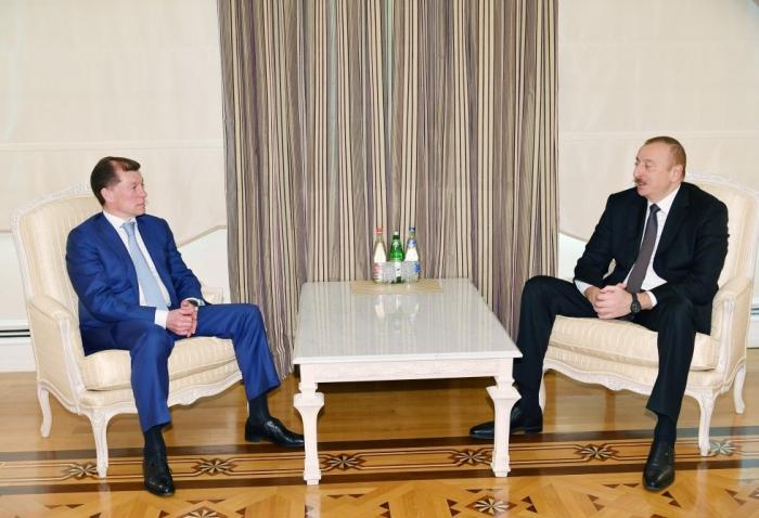 Ilham Aliyev recibe al ministro ruso