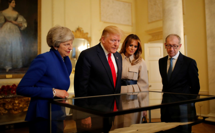 Trump meets with May, talking business on second day of U.K. visit