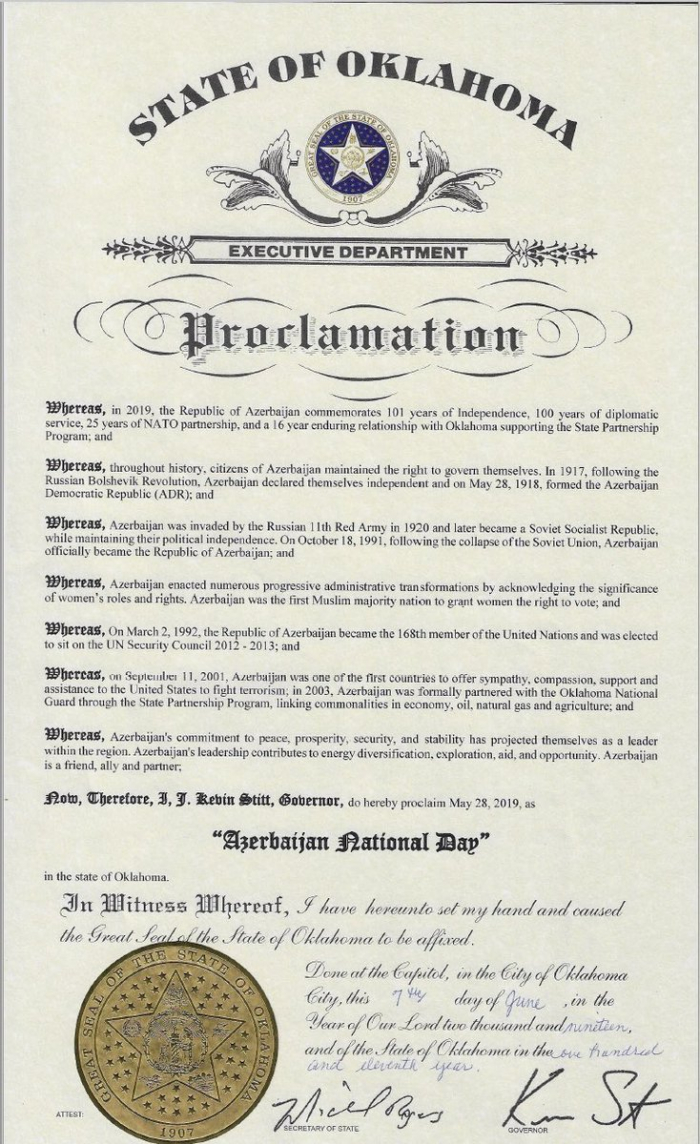 Another U S  state proclaims May 28 as 'Azerbaijan National
