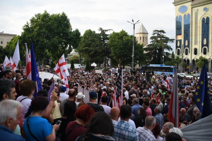 Tbilisidə etiraz aksiyası davam edir