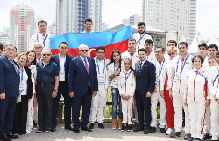 Heydar Aliyev Foundation VP Leyla Aliyeva meets Azerbaijani athletes competing at 2nd European Games