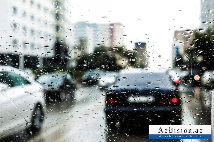 Rayonlara yağış yağıb, şimşək çaxıb - Faktiki hava