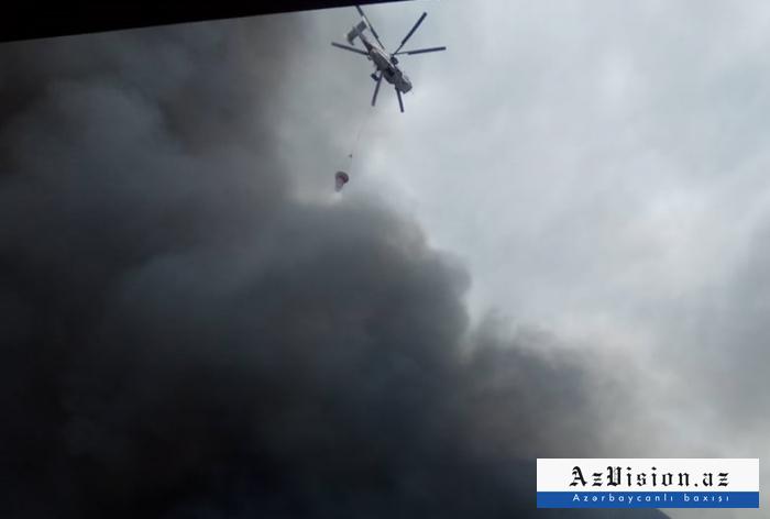 Qobustandakı yanğına iki helikopter cəlb olunub