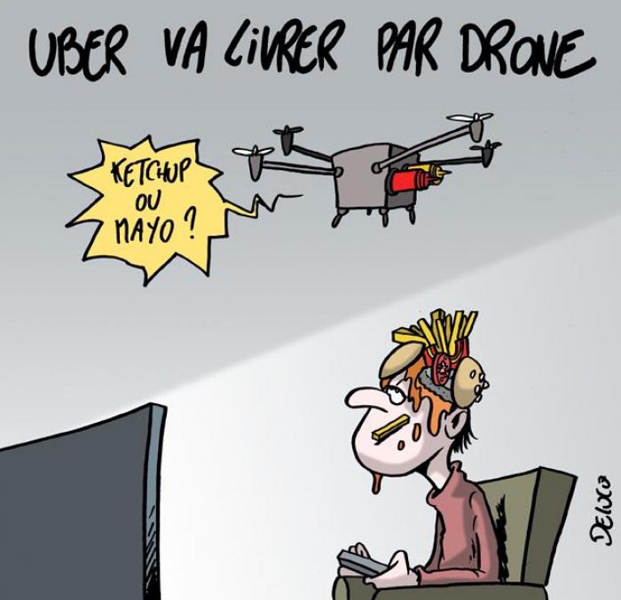 Uber Eats va livrer des repas par drone -   CARICATURE