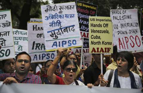 Protest march held in New Delhi prior to U.S. secretary of state